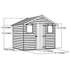 INSTALLED 6ft x 8ft (2.1m x 2.6m) Premier Reverse Tongue & Groove Apex Shed,Higher Ridge With Single Door + 2 Windows (12mm T&G Floor & Roof) - INCLUDES INSTALLATION