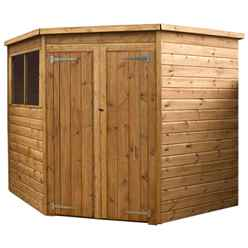 INSTALLED 7ft x 7ft (1.99m x 1.99m) Budget Tongue And Groove Corner Shed With Double Doors + 2 Windows (10mm Solid OSB Floor) - INCLUDES INSTALLATION