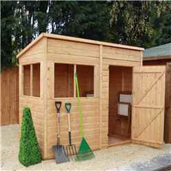 INSTALLED 8ft x 4ft Pent (2.44m x 1.22m) Premier Tongue & Groove Apex Shed With Single Door + 4 Windows (12mm T&G Floor) - INCLUDES INSTALLED