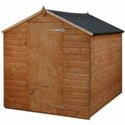 INSTALLED 8ft x 6ft (2.41m x 1.91m) Tongue & Groove Single Door Apex Windowless Shed With Single Door (Solid 10mm OSB Floor) - INCLUDES INSTALLATION