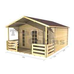 4m x 3m Premier Madrid Log Cabin - Double Glazing - 34mm Wall Thickness