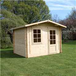 INSTALLED 3m x 2.4m BLOSSOM Log Cabin (Single Glazing) + Free Floor & Felt & Safety Glass (34mm) - INCLUDES INSTALLATION
