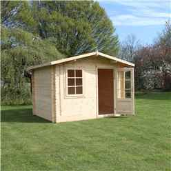 INSTALLED 3m x 2.4m BLOSSOM Log Cabin (Double Glazing) + Free Floor & Felt & Safety Glass (34mm) - INCLUDES INSTALLATION