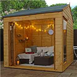 INSTALLED 8ft x 8ft (2.5m x 2.4m) Vermont Reverse Tongue and Groove Summerhouse (12mm Tongue and Groove Floor) INCLUDES INSTALLATION