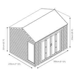 10ft x 8ft (3m x 2.5m) Vermont Reverse Tongue and Groove Summerhouse (12mm Tongue and Groove Floor)
