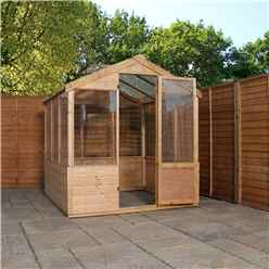 INSTALLED 8ft x 6ft (2.4m x 1.8m) Wooden Shiplap Plus Greenhouse INCLUDES INSTALLATION