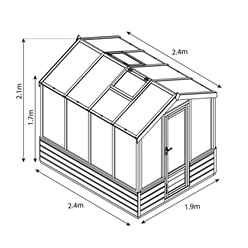 6ft x 8ft (2.4m x 1.9m) Premier Styrene Glazed Tongue and Groove Greenhouse (No Floor)