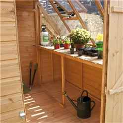 INSTALLED 8ft x 6ft (2.43m x 1.83m) Premier Potting Shed + Free Potting Bench With Single Door (door can be placed either end) (12mm T&G Floor & Roof) INCLUDES INSTALLATION