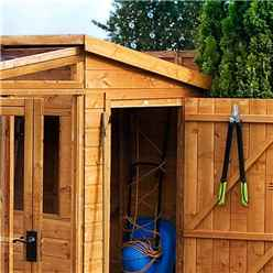 INSTALLED 8ft x 8ft (2.5m x 2.5m) Premier Tongue & Groove Combi Pent Shed With 2 Single Doors + Greenhouse (12mm T&G Floor & Roof) INCLUDES INSTALLATION