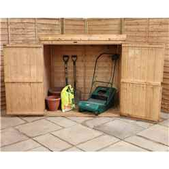 5 x 3 (1.45m x 0.94m) Wooden Tongue and Groove Pent Mower Shed with Double Doors