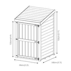 *DISCO 2/1/19* 3 x 3 (1m x 1m) Pressure Treated Overlap Storage Unit With Single Door (3'3 x 3'3)