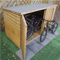 INSTALLED 3ft x 6ft (0.98m x 1.95m) Overlap Pent Bike Store (6'5