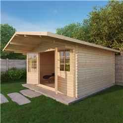 4m x 4m CALIFORNIA Log Cabin (Single Glazing) + Free Floor & Felt & Safety Glass (28mm)