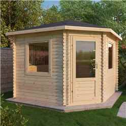 3m x 3m OHIO Corner Log Cabin (Single Glazing) + Free Floor & Felt & Safety Glass (28mm)