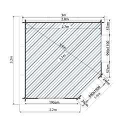 3m x 3m OHIO Corner Log Cabin (Single Glazing) + Free Floor & Felt & Safety Glass (28mm)