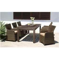 6 Seater Set Regancy Dining Set with Eucalyptus Table, Lazy Susan & 6 Rattan Carver Chairs - Free Next Working Day Delivery (Mon-Fri)