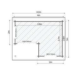 4m x 3m CHESTNUT Log Cabin (Single Glazing) with FREE Floor & Felt (28mm)
