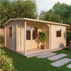 5m x 4m CHESTNUT Log Cabin (Single Glazing) + Free Floor & Felt & Safety Glass (34mm)