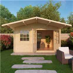 4m x 3m EDEN Log Cabin (Single Glazing) + Free Floor & Felt & Safety Glass (28mm)