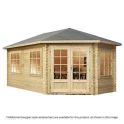 5m x 3m KANSAS Corner Log Cabin (Single Glazing) + Free Floor & Felt & Safety Glass (28mm) - Right Door