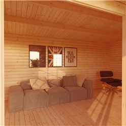 4m x 3m CHESTNUT Log Cabin (Single Glazing) + Free Floor & Felt & Safety Glass (34mm)