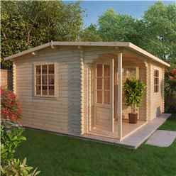 4m x 3m CHESTNUT Log Cabin (Single Glazing) + Free Floor & Felt & Safety Glass (44mm)