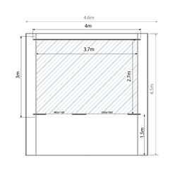 4m x 3m EDEN Log Cabin (Double Glazing) + Free Floor & Felt & Safety Glass (28mm)
