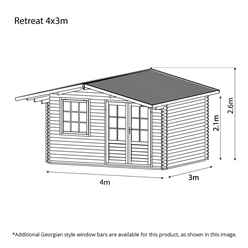 4m x 3m EDEN Log Cabin (Double Glazing) + Free Floor & Felt & Safety Glass (34mm)