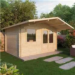 4m x 3m EDEN Log Cabin (Double Glazing) + Free Floor & Felt & Safety Glass (44mm)