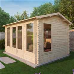 4m x 3m Vermont Log Cabin (Single Glazing) + Free Floor & Felt & Safety Glass (34mm)