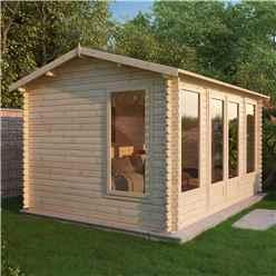 4m x 3m Vermont Log Cabin (Single Glazing) + Free Floor & Felt & Safety Glass (44mm)
