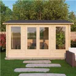 4m x 3m Vermont Log Cabin (Double Glazing) + Free Floor & Felt & Safety Glass (34mm)