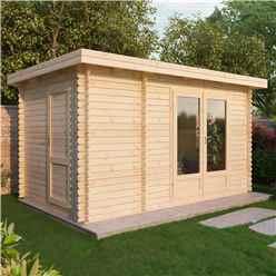 4m x 2.5m Zen Log Cabin (Single Glazing) + Free Floor & Felt & Safety Glass (28mm T&G)