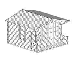 3.29m x 3.48m Vicky Log Cabin Including Verandah (2' 7