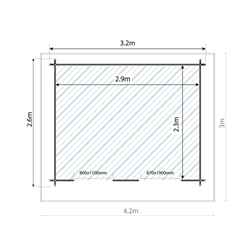 *DISCO 2/1/19* 3m x 2.4m BLOSSOM Log Cabin (Double Glazing) + Free Floor & Felt & Safety Glass (44mm)