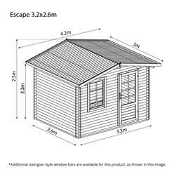 3m x 2.4m BLOSSOM Log Cabin (Double Glazing) + Free Floor & Felt & Safety Glass (44mm)