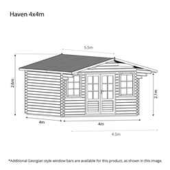 4m x 4m CALIFORNIA Log Cabin (Double Glazing) + Free Floor & Felt & Safety Glass (28mm)