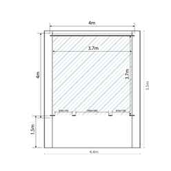 4m x 4m CALIFORNIA Log Cabin (Single Glazing) + Free Floor & Felt & Safety Glass (34mm)