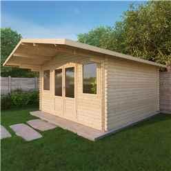 4m x 4m CALIFORNIA Log Cabin (Double Glazing) + Free Floor & Felt & Safety Glass (34mm)