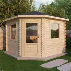 3m x 3m OHIO Corner Log Cabin (Double Glazing) + Free Floor & Felt & Safety Glass (28mm)