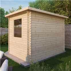 3m x 3m OHIO Corner Log Cabin (Single Glazing) + Free Floor & Felt & Safety Glass (34mm)