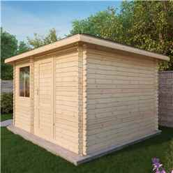 5m x 3m OHIO Corner Log Cabin (Double Glazing) + Free Floor & Felt & Safety Glass (28mm) ***LEFT