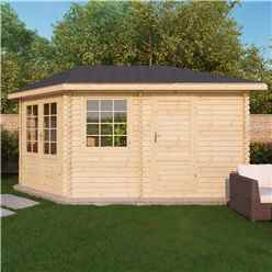 5m x 3m OHIO Corner Log Cabin (Single Glazing) + Free Floor & Felt & Safety Glass (34mm) ***LEFT