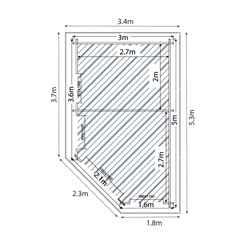 5m x 3m OHIO Corner Log Cabin (Single Glazing) + Free Floor & Felt & Safety Glass (34mm) ***RIGHT