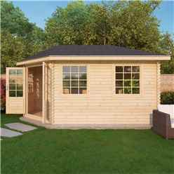 5m x 3m KANSAS Corner Log Cabin (Double Glazing) + Free Floor & Felt & Safety Glass (28mm) - Left Door