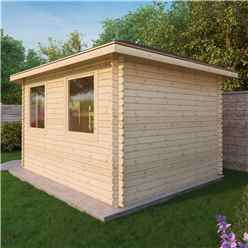 5m x 3m KANSAS Corner Log Cabin (Single Glazing) + Free Floor & Felt & Safety Glass (34mm) - Left Door
