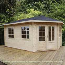5m x 3m KANSAS Corner Log Cabin (Double Glazing) + Free Floor & Felt & Safety Glass (28mm) - Right Door