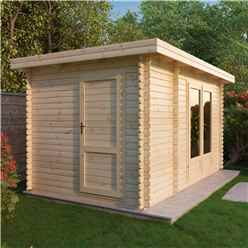 *DISCO 2/1/19* 4m x 2.5m Zen Log Cabin (Single Glazing) + Free Floor & Felt & Safety Glass (34mm T&G)