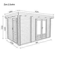 *DISCO 2/1/19* 4m x 2.5m Zen Log Cabin (Single Glazing) + Free Floor & Felt & Safety Glass (34mm T&G)