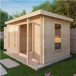 *DISCO 2/1/19* 4m x 2.5m Zen Log Cabin (Double Glazing) + Free Floor & Felt & Safety Glass (44mm T&G)